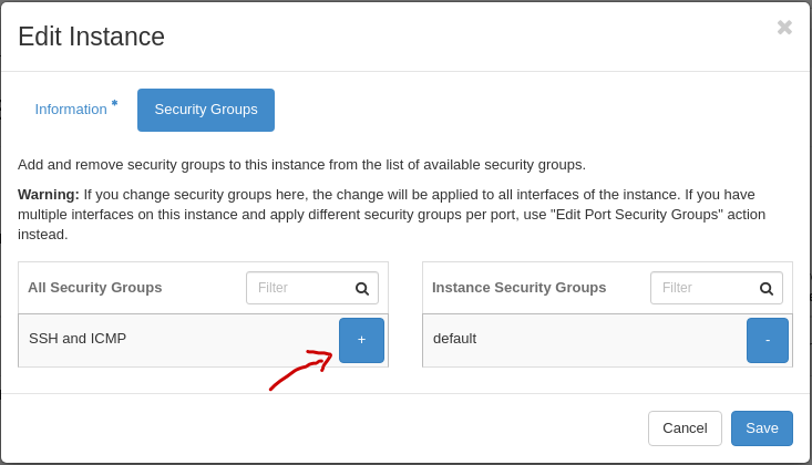 Dashboard - Edit Security Group