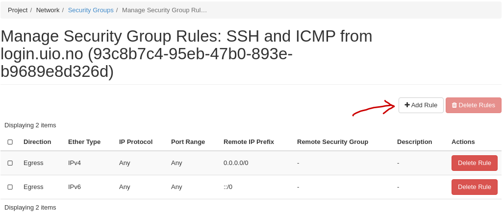 Add security group rule